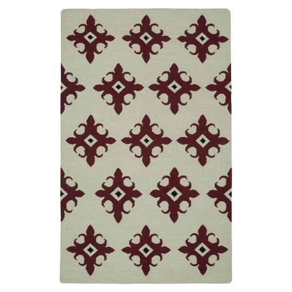 Hand-Woven Beige/Red Area Rug by The Conestoga Trading Co.