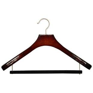 Bargain Wooden Suit Non-Slip Hanger with Velvet Bar (Set of 12) By Rebrilliant