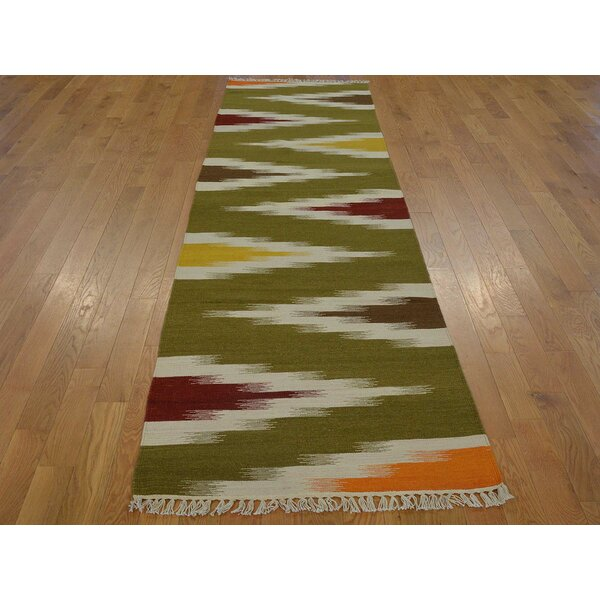 One-of-a-Kind Bettincourt Reversible Eye Dazzle Design Handwoven Wool Area Rug by Isabelline