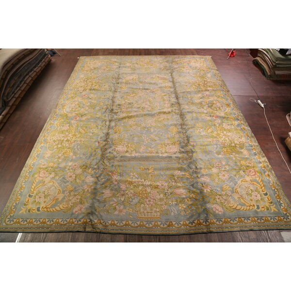 Demario Savonnerie French Oriental Vintage Traditional Hand-Knotted Wool Red/Black/Blue Area Rug