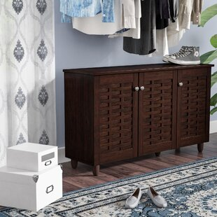 Clearance 12-Pair Espresso Shoe Storage Cabinet By Rebrilliant