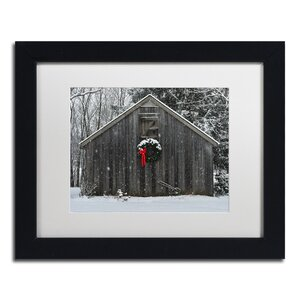 Christmas Barn in the Snow by Kurt Shaffer Framed Photographic Print by Trademark Fine Art