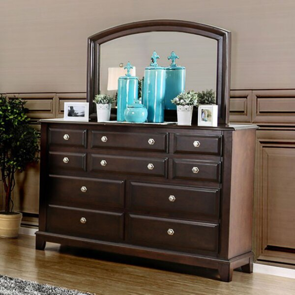 Harvell 10 Drawer Double Dresser with Mirror by Red Barrel Studio
