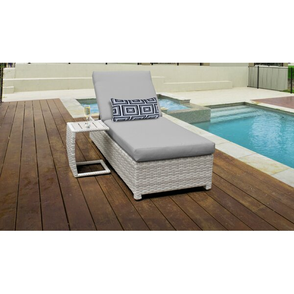 Genevieve Wheeled Outdoor Wicker Reclining Chaise Lounge with Cushion and Table by Rosecliff Heights
