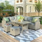Jaqueline Rattan Sectional Seating Group with Cushions by Rosecliff Heights