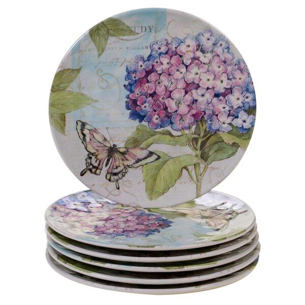Marquis Hydrangea Melamine Salad Plate (Set of 6) by Ophelia & Co.