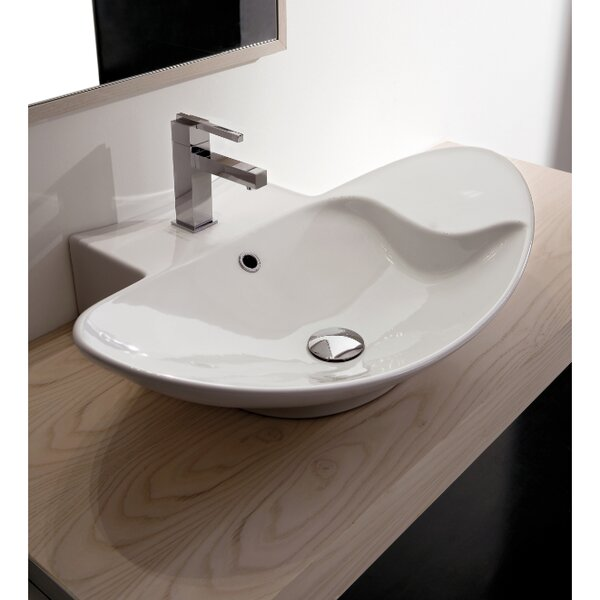 Zefiro Ceramic Oval Vessel Bathroom Sink with Overflow by Scarabeo by Nameeks