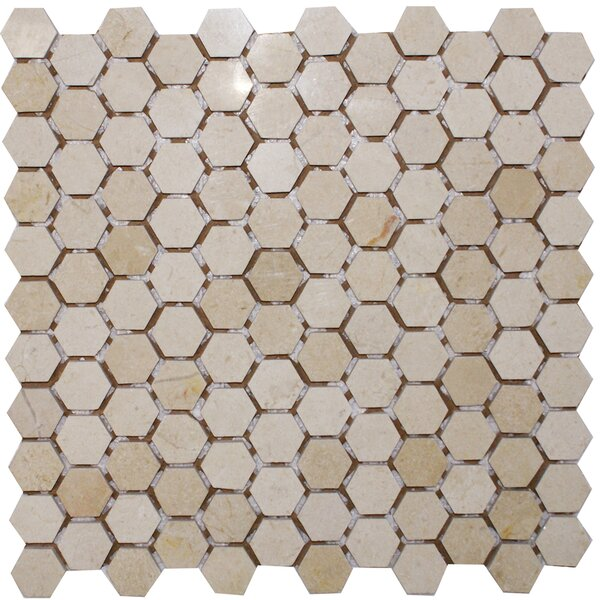 Hexagon 1 x 1 Marble Mosaic Tile in Crema Marfil by Epoch Architectural Surfaces