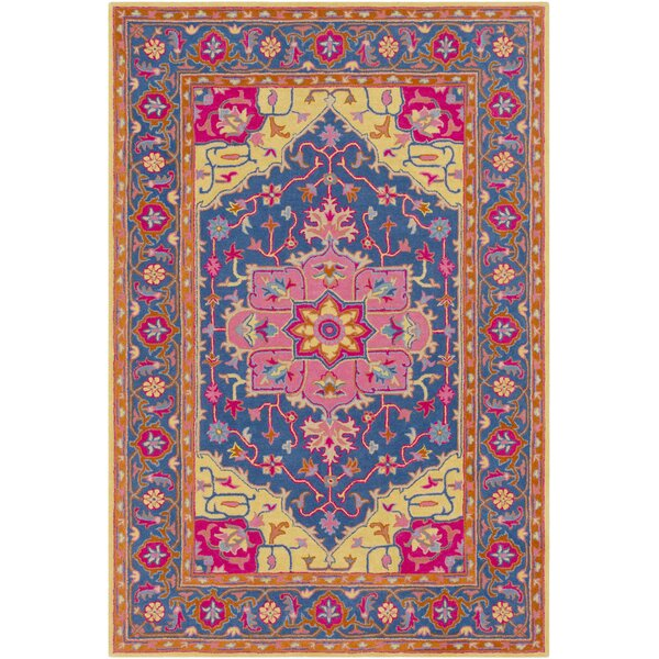 Lanesborough Hand Tufted Wool Denim/Bright Pink Area Rug by Bloomsbury Market