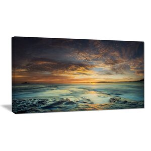 The Tanah Lot Temple in Bali Island Modern Beach Photographic Print on Wrapped Canvas by Design Art