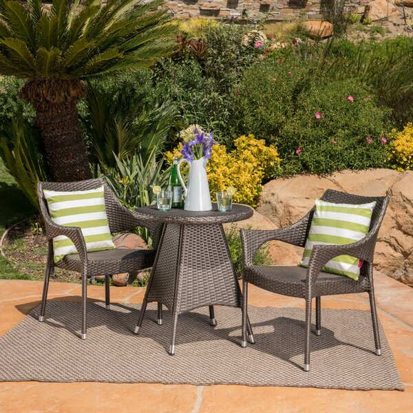Tulane 3 Piece Wicker Bistro Set by Wrought Studio