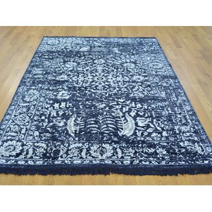 Best Reviews One-of-a-Kind Brian Broken Design Art Handwoven Black Silk Area Rug By Isabelline