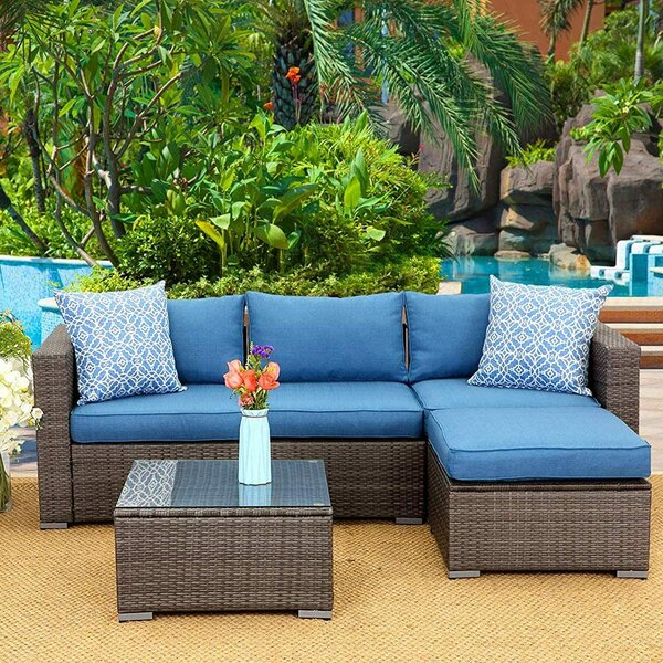 Adriunna Outdoor 5 Piece Rattan Sectional Seating Group with Cushions by Latitude Run