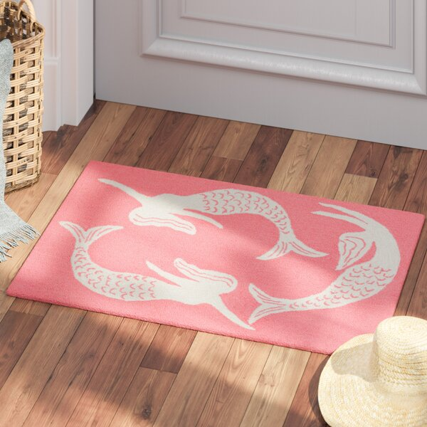 Northfield Mermaids Handmade Orange Indoor/Outdoor Area Rug by Beachcrest Home