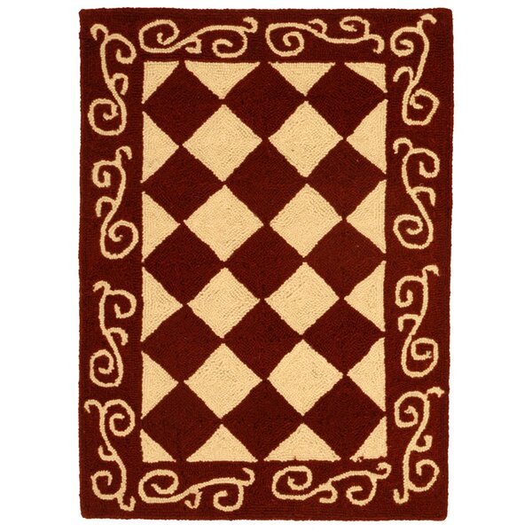 Brayton Red/Ivory Area Rug by Fleur De Lis Living