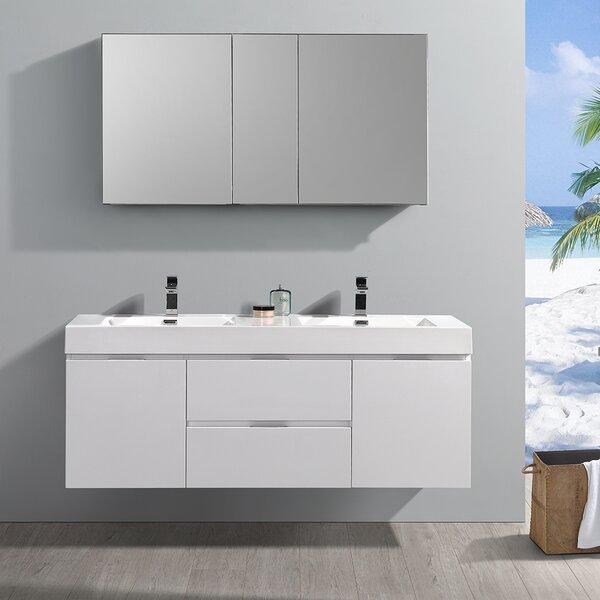Senza Valencia 60 Wall Mounted Double Bathroom Vanity Set by Fresca