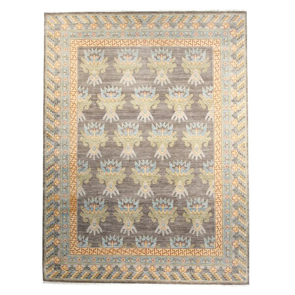 One-of-a-Kind Jaques Hand-Knotted 9 x 12 Wool Gray Area Rug by Bloomsbury Market