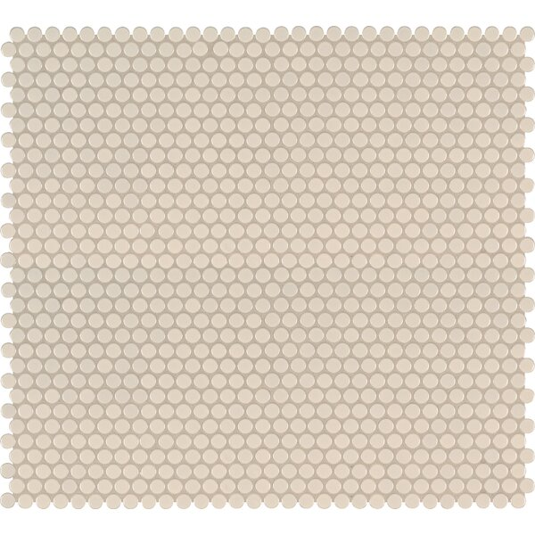 Domino Penny Mesh Mounted Porcelain Mosaic Tile in Almond by MSI