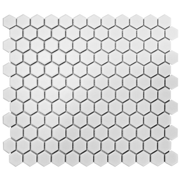 Retro 10.25 x 11.75 Porcelain Mosaic Tile in White