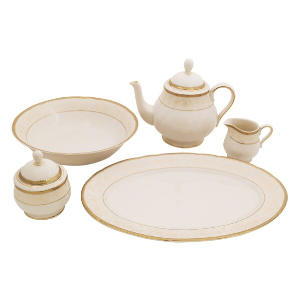 Galaxy Ivory China Traditional Serving 5 Piece Dinnerware Set by Shinepukur Ceramics USA, Inc.