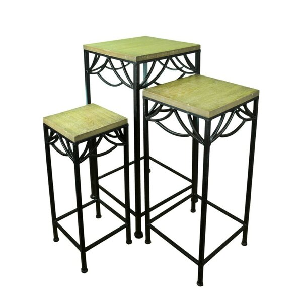 3 Piece Metal/Wood Planter Stand Set by Benzara