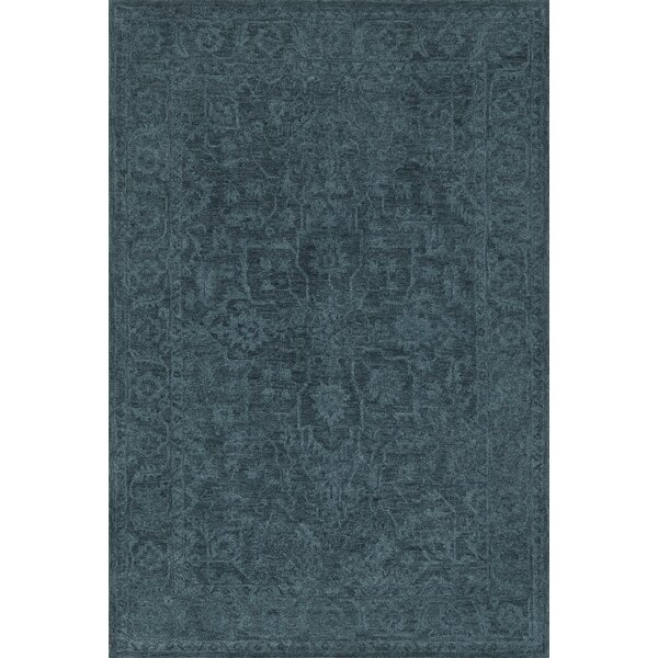 Chatmon Hand-Tufted Wool Navy Area Rug by Fleur De Lis Living