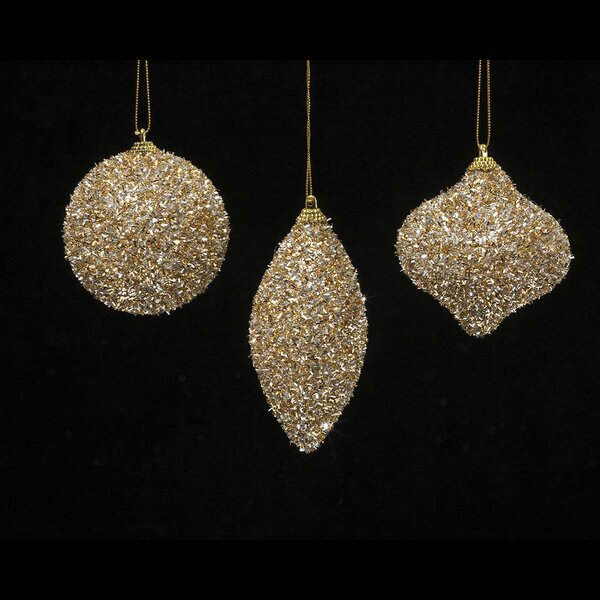 3 Piece Sparkle Ball/Kismet/Finial Ornament Set by