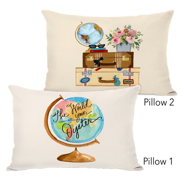 Haven The World Is Your Oyster Copy and Travel Things 2 Piece Lumbar Pillow Set by Ebern Designs