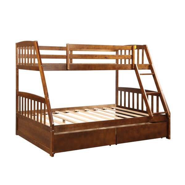 Lowrie Solid Wood Twin over Full Bed with Drawers by Harriet Bee