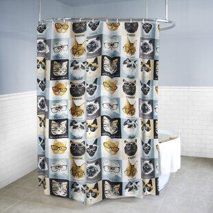 Buying Eli PEVA 4G Cats & Glasses Vinyl Shower Curtain Liner ByEbern Designs