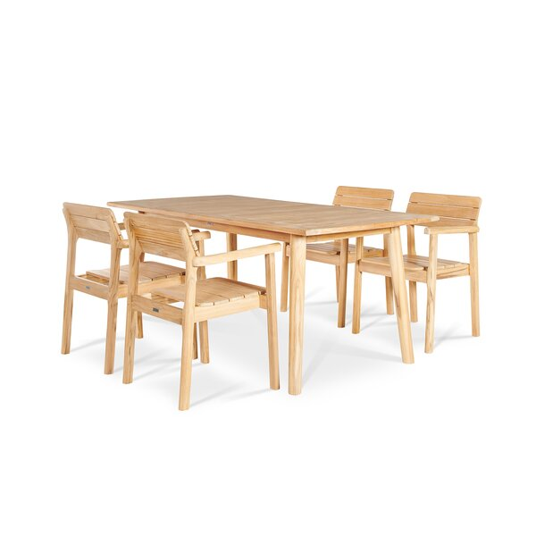 Jaylon 5 Piece Solid Wood Dining Set by Rosecliff Heights