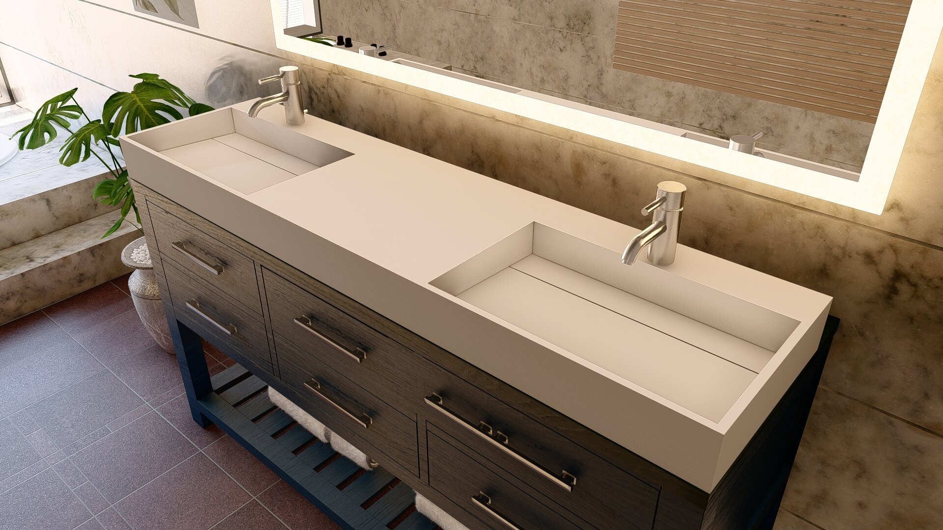 72 Inch Double Sink Bathroom Vanity Top Only
