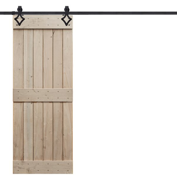 Rustic Mid Rail Plank Wood 2 Panel Interior Barn Door by Barndoorz