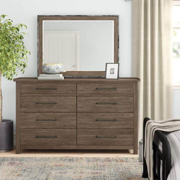 Bartow 8 Drawer Double Dresser with Mirror by Three Posts