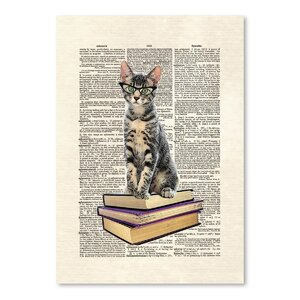 Bookcat Graphic Art by East Urban Home