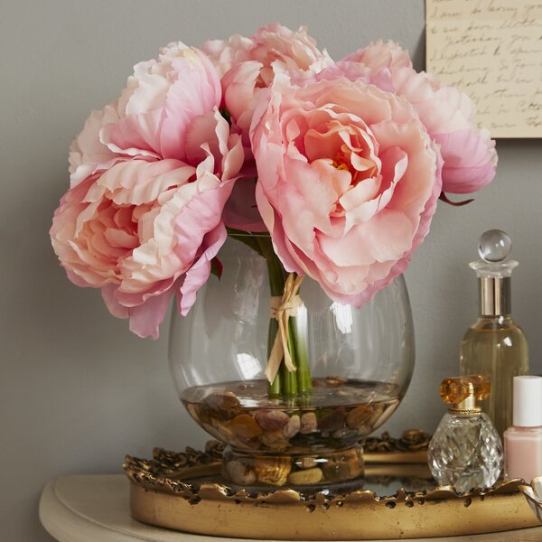 Peonies in a Glass Vase with River Rocks and Faux