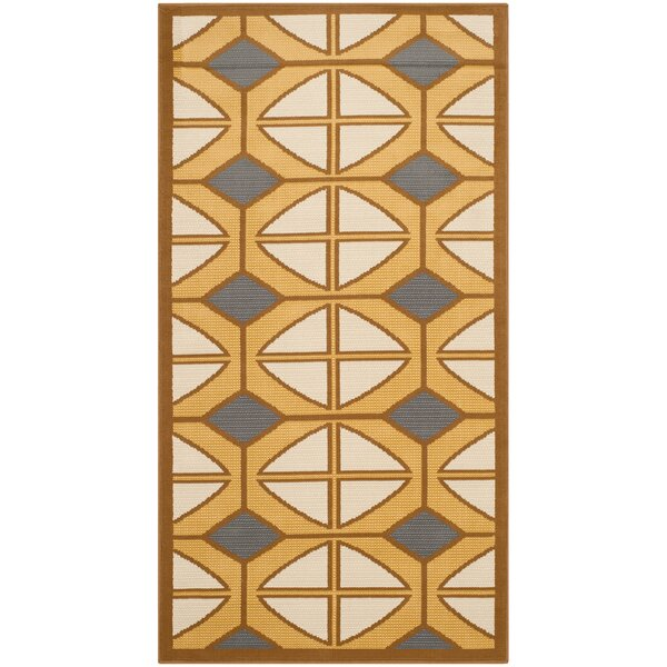 Hampton Ivory Geometric Outdoor Area Rug by Safavieh