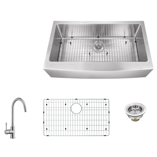 16 Gauge Stainless Steel 32.88 L x 20.75 W Farmhouse/Apron Kitchen Sink with Gooseneck Faucet by Soleil
