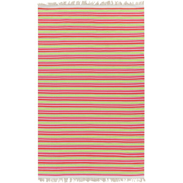 Carissa Ivory/Hot Pink Stripe Area Rug by Harriet Bee