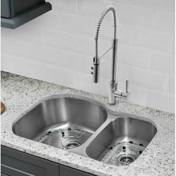 32 L x 21 W Double Basin Undermount Kitchen Sink with Faucet and Soap Dispenser by Cahaba