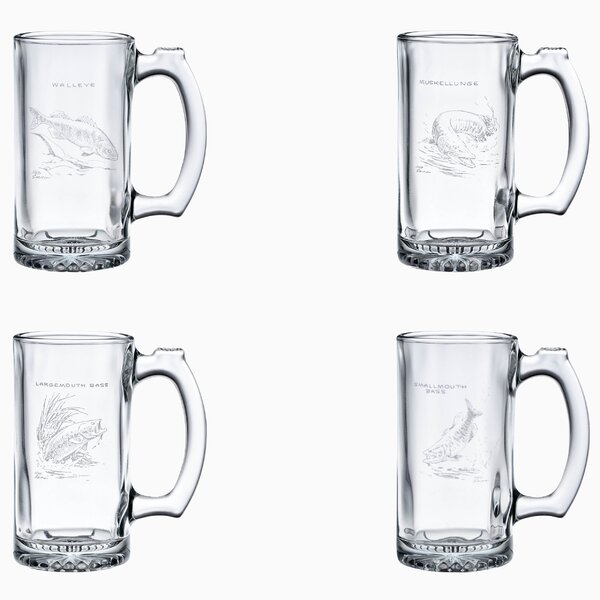 Freshwater Fish 4 Piece 12 oz. Glass Pint Set by Ned Smith