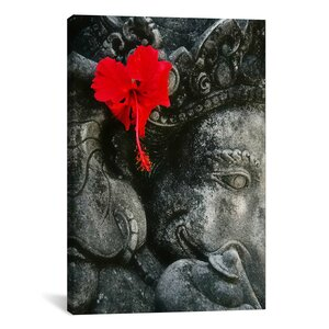Ganesh Holy Hindu God Statue Photographic Print on Canvas by World Menagerie