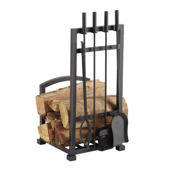 4 Piece Harper Fireplace Log Holder And Tool Set By Pleasant Hearth.