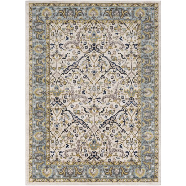 Macclesfield Floral Camel/Navy Area Rug by Charlton Home