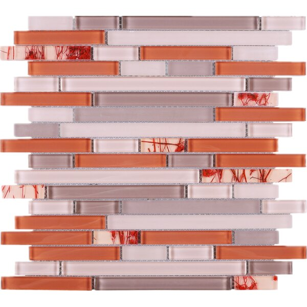 Random Sized Glass Mosaic Tile in Orange/Pink by Multile