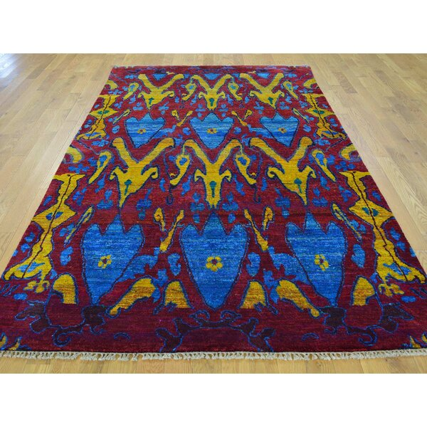 One-of-a-Kind Beatrix Ikat Design Hand-Knotted Red Silk Area Rug by Isabelline