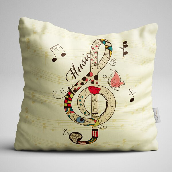 Clayton Clef Sign Throw Pillow by Winston Porter