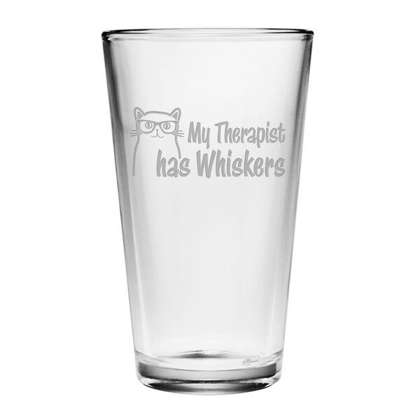My Therapist Has Whiskers Pint Glass (Set of 4) by Susquehanna Glass