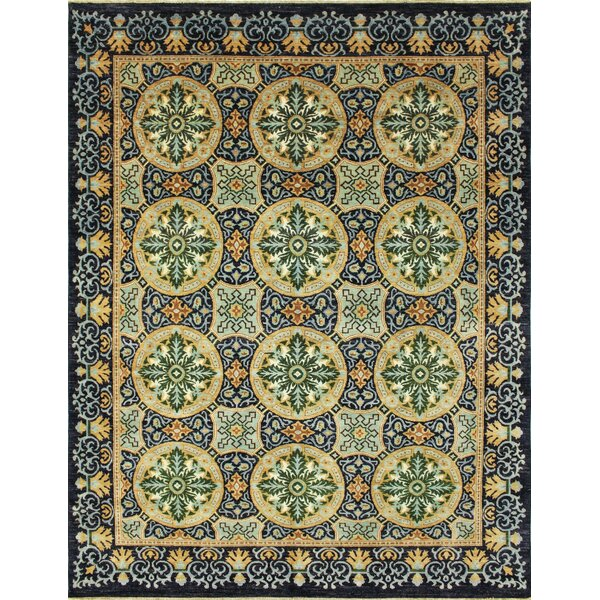 One-of-a-Kind Romona Hand-Knotted Oriental Blue Wool Area Rug by Isabelline
