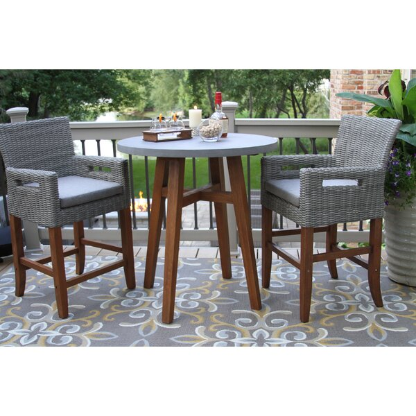 Jordan 3 Piece Bistro Set with Cushions by Alcott Hill